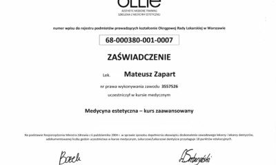 Ollie- Certyfikat